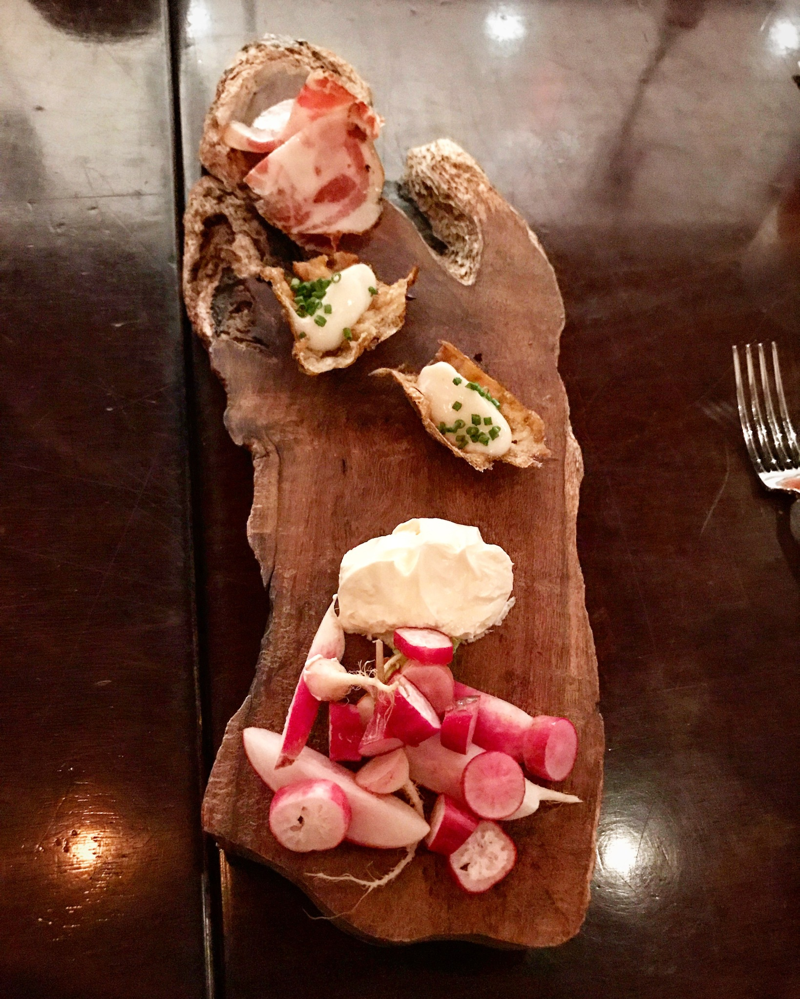 Canapes Radishes Cultured Butter Hot Coppa Sunchoke