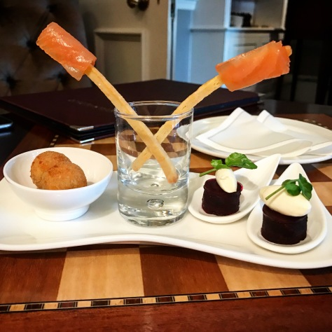 Canapes Lords of the Manor Mushroom Risotto Salmon Beetroot Tasting Menu Cotswolds Upper Slaughter