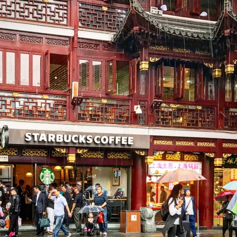 starbucks, china, shanghai, coffee, yuyuan, garden