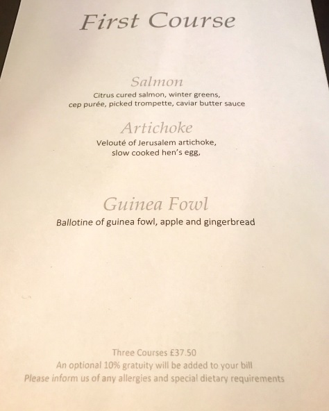 Lords of the Manor Menu First Course Saturday Lunch One Michelin Star Cotswolds England Great Britain United Kingdom