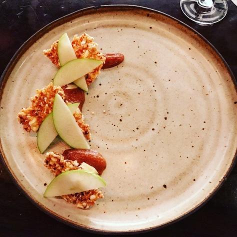 Quickes Cheddar Popcorn Apple Mostarda FT33 Dallas Fine Dining Restaurant Tasting Menu