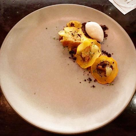 Squash Candcap Mushrooms Citrus Coffee Milk Chocolate Dessert FT33 Dallas Fine Dining Restaurant Tasting Menu