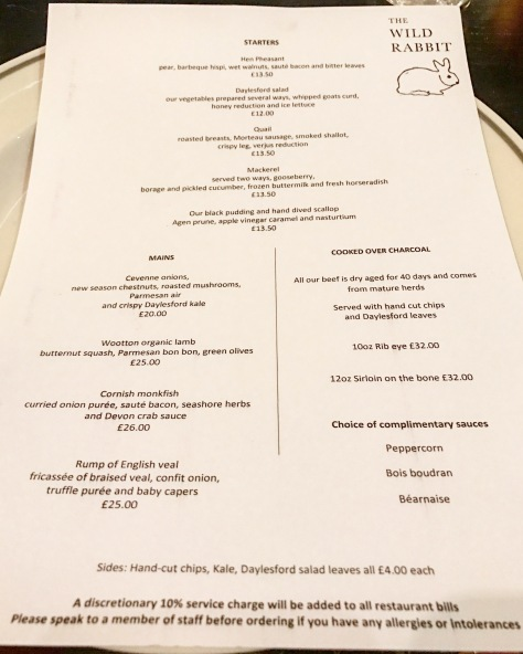 Dinner Menu at The Wild Rabbit in Kingham, Chipping Norton, Oxfordshire, England Great Britain United Kingdom One Michelin Star Dinner Michelin Guide UK