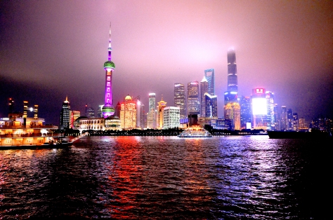View of Pudong from The Bund at Night Shanghai Skyline China Modern Architecture Bright Lights