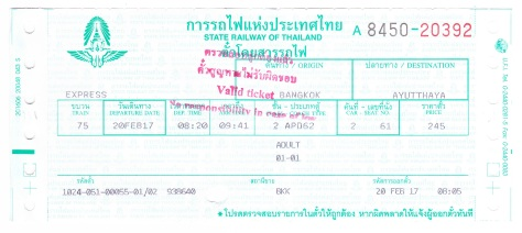 Bangkok Ayutthaya Express Train Ticket Second Class Thailand Train Travel State Railway of Thailand