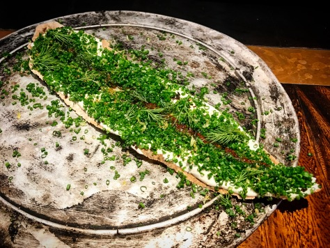 Grissini and Taramasalata Starter Appetizer Herbs Dill Chives Burnt Ends Singapore Restaurant BBQ Modern Australian Barbecue Asia's 50 Best Restaurants World's 50 Best Restaurants Restaurant Review Chef Dave Pynt