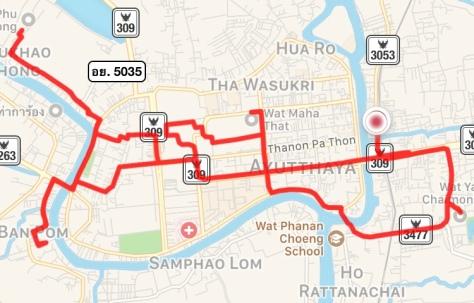 Bike Route Map Ayutthaya Thailand Travel World Heritage Site Biking
