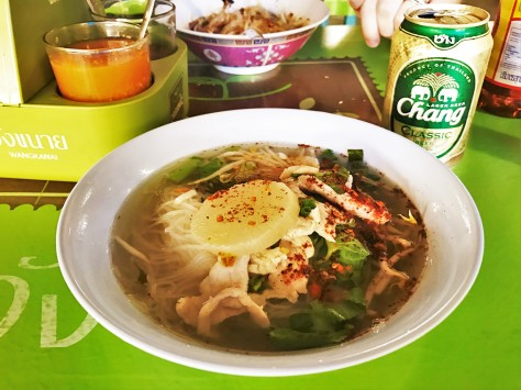 Long Lex Noodle Lung Lek Noodle Ayutthaya Restaurant Chang Beer Noodle Soup with Pork Thailand Street Food Travel