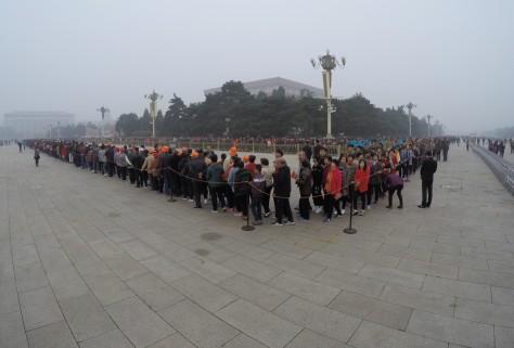 Tiananmen Square Beijing China Line for Mausoleum of Mao Zedong