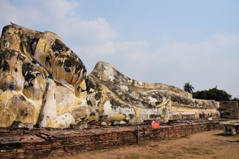 Reclining Buddha Wat Lokayasutharam Ruins Ayutthaya Thailand World Heritage Site Travel Tourist Attraction
