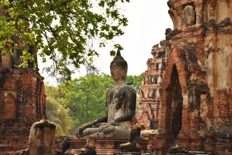 Buddha statue Wat Mahathat Ruins Ayutthaya Thailand Travel Buddhist Temple World Heritage Site Tourist Attraction