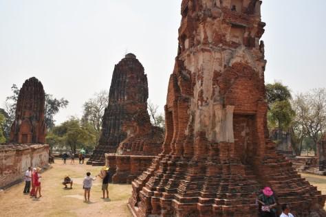 Prangs Wat Mahathat Ruins Ayutthaya Thailand Travel Buddhist Temple World Heritage Site Siam Tourist Attraction