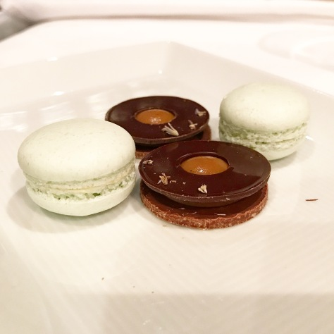 Petits Fours Pineapple and Lime Macarons Chocolate and Toffee Dessert Courses Tetsuya's Restaurant Sydney Australia Chef Tetsuya Wakuda Restaurant Review Fine Dining Dinner Tasting Menu Gastronomy Haute Cuisine Luxury Travel Foodie Japanese Fusion Food Pictures Food Photography Food Lovers
